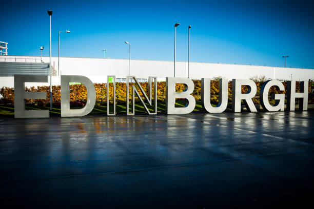 Edinburgh sign greeting visitors in the Scottish capital stock photo