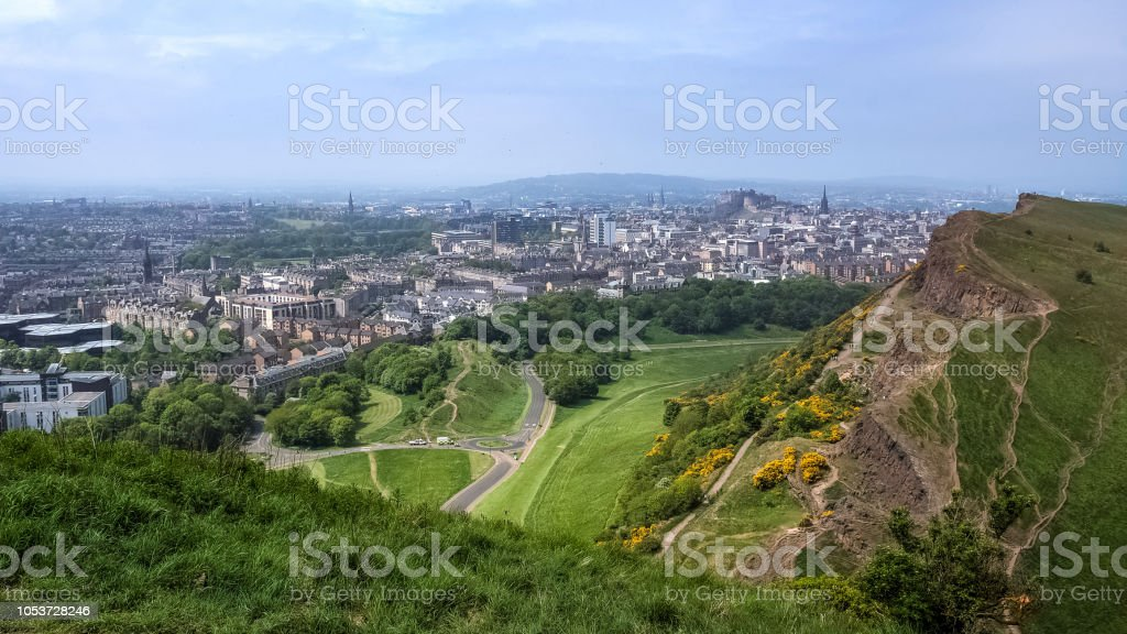 Edinburgh skyline and city seen from above, from Arthur's seat stock photo