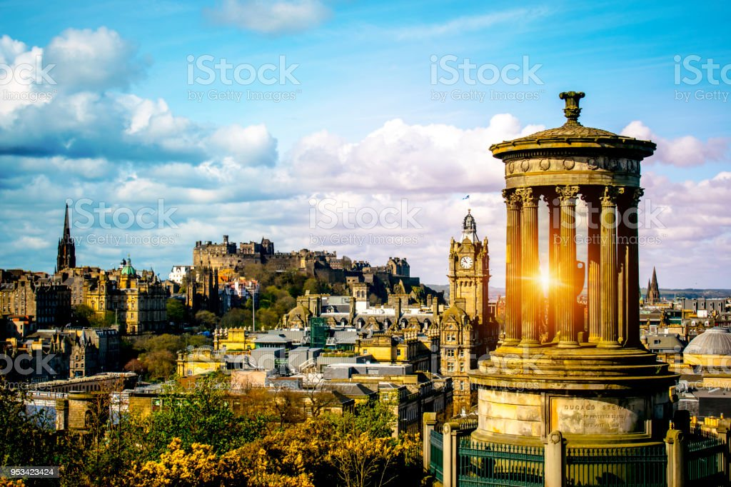Edinburgh skyline as seen from Calton Hill Edinburgh Dugald Stewart monument with Edinburgh Castle stock photo