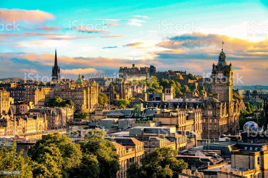 Edinburgh skyline as seen from Calton Hill, Scotland stock photo