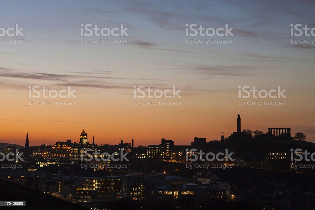 Edinburgh skyline at night. stock photo
