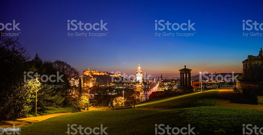 Edinburgh Skyline by Night stock photo