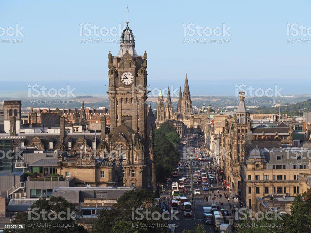 Edinburgh skyline looking down Princes Street from Calton Hill stock photo