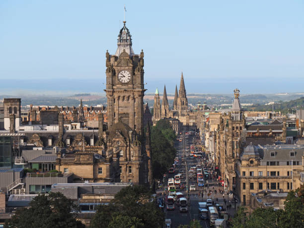 Edinburgh skyline looking down Princes Street from Calton Hill Edinburgh skyline looking down Princes Street from Calton Hill princes street edinburgh stock pictures, royalty-free photos & images