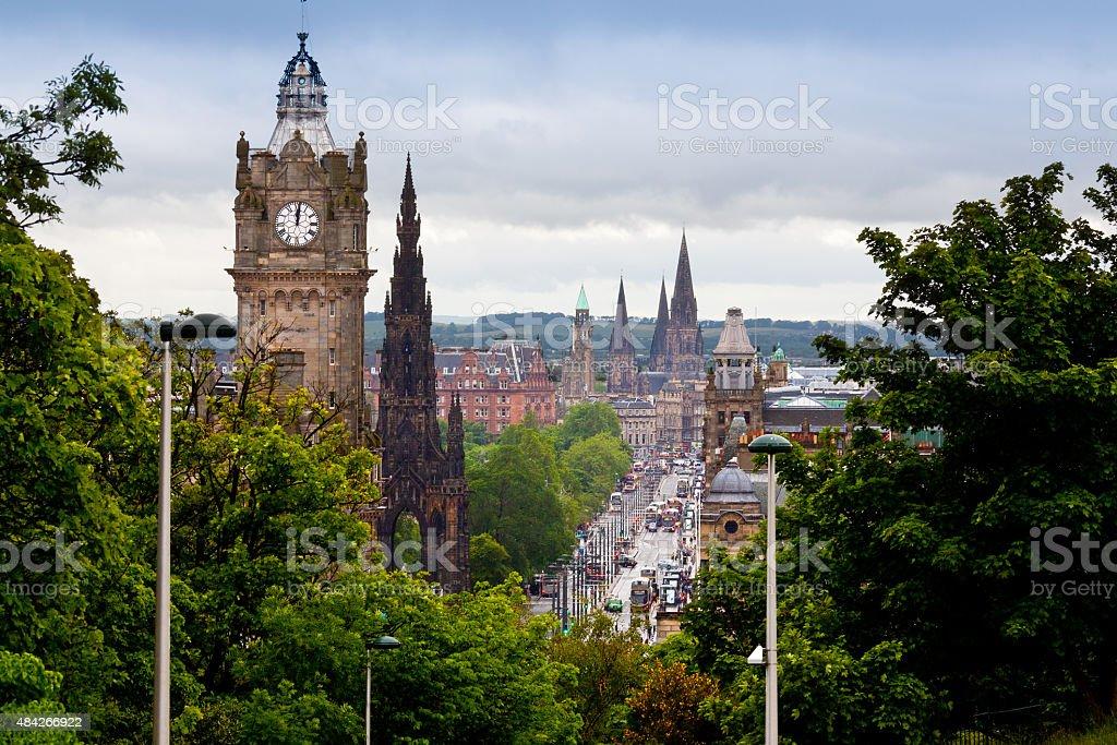 Edinburgh Skyline with Scott Monument and Princes Street, Scotland, UK. stock photo