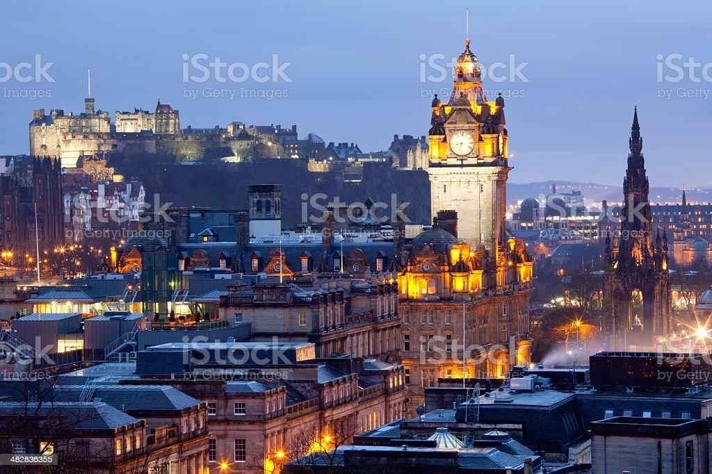 Edinburgh Skylines Dusk stock photo