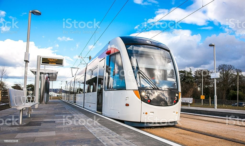 Edinburgh Tram stands at Gogarburn Station stock photo