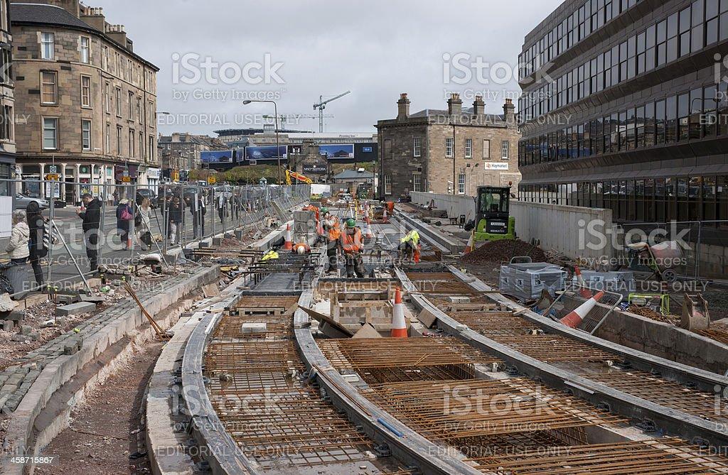 Edinburgh Tram works continue stock photo