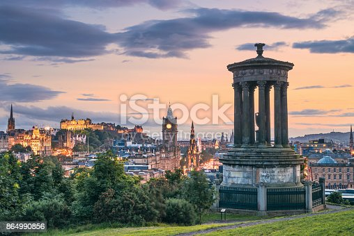 A view of Edinburgh's skyline from Calton Hill, including many of the city's well known historic landmarks.