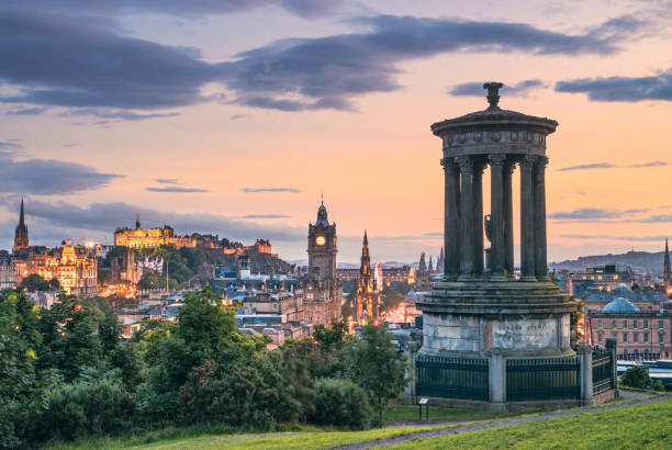 Edinburgh's historic skyline at Dusk - Calton Hill viewpoint A view of Edinburgh's skyline from Calton Hill, including many of the city's well known historic landmarks. edinburgh scotland stock pictures, royalty-free photos & images