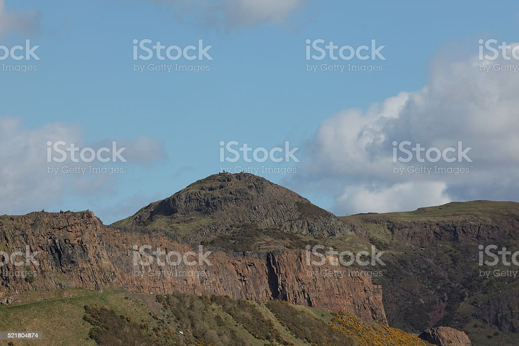 Edinburgh's Holyrood park, crags below Arthur's seat stock photo