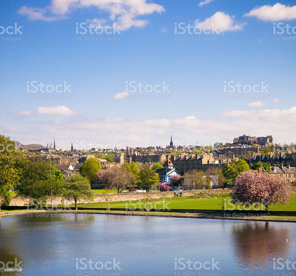 Edinburgh's skyline from Inverleith Park stock photo
