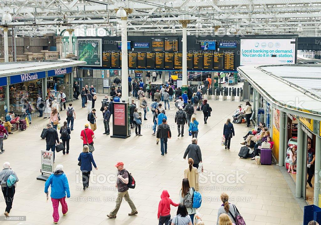 Edinburgh's Waverley train station busy with travelers stock photo