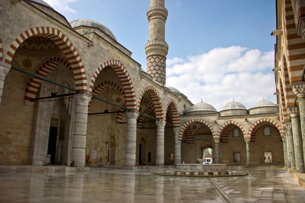 edirne drei şerefeli moschee, uc serefeli moschee - edirne stock-fotos und bilder