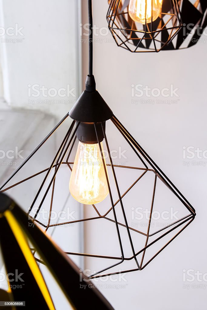 Edison's light bulb and lamp in modern style coffee stock photo