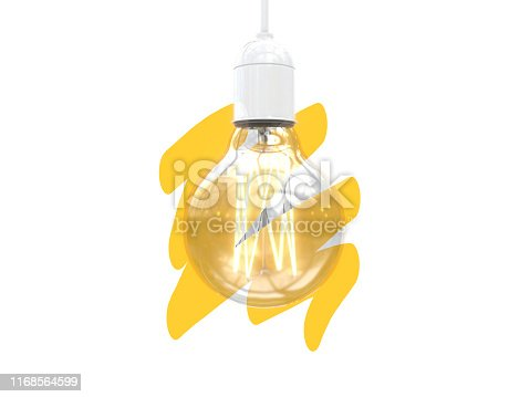 istock Edison's light bulb on and off. Yellow brush strokes on a Image of an incandescent lamp. Creative conceptual illustration with copy space. 3D rendering 1168564599