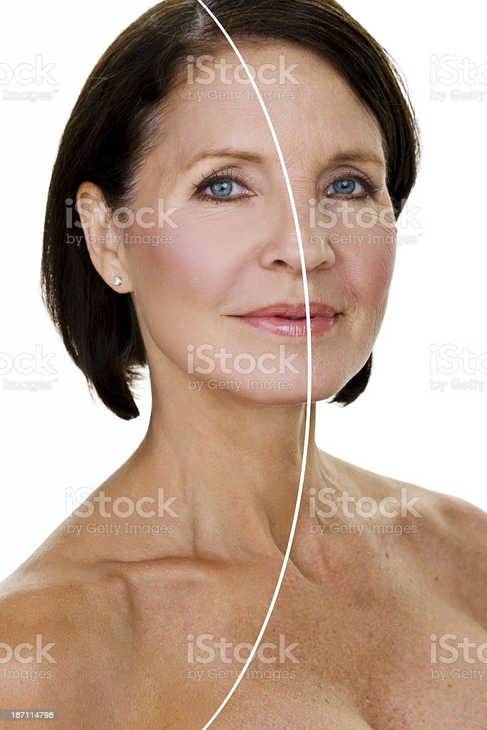 Edited and unedited skin stock photo