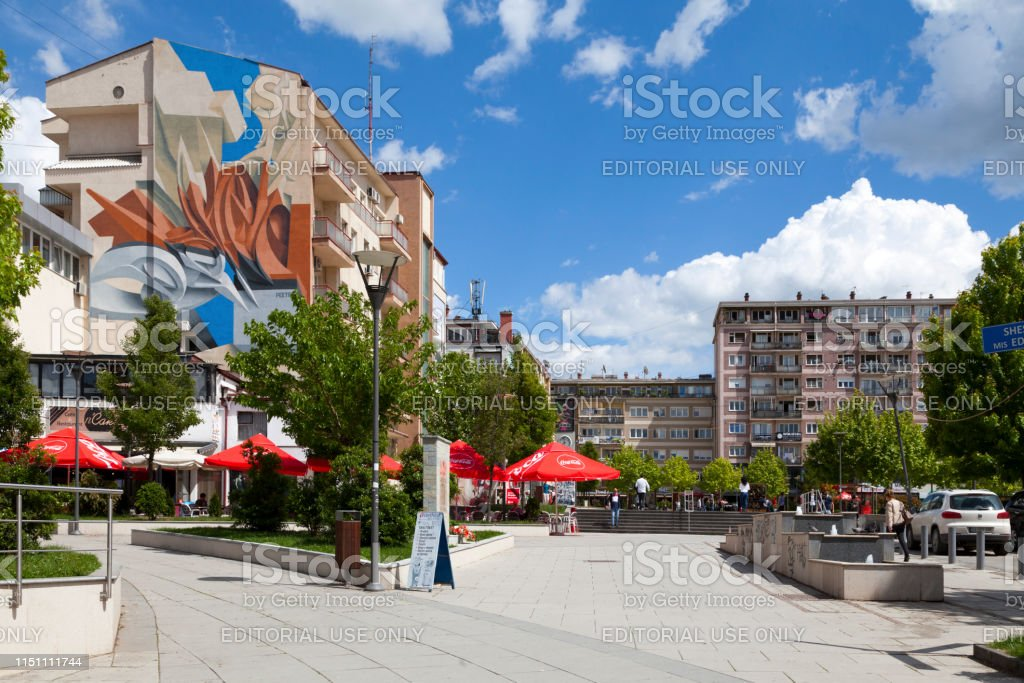 Edith Durham square in Pristina stock photo