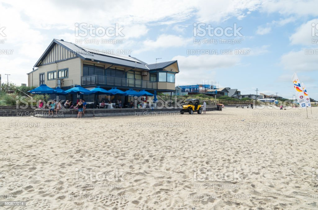 Edithvale Life Saving Club on Port Phillip Bay in Melbourne stock photo