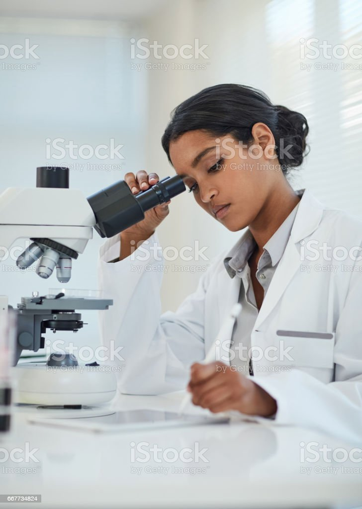Editing her findings to be published in her research report stock photo