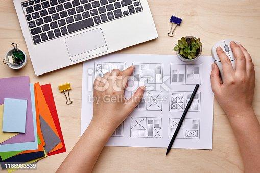 Editorial design. Graphic designer working on magazine layout designs. Flat lay