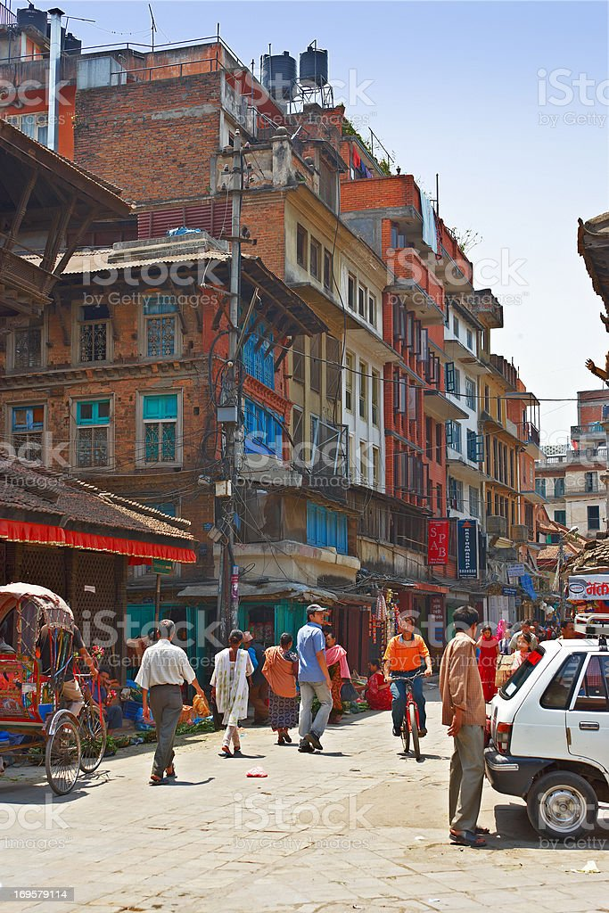 Editorial: Everyday life in the streets of Kathmandu, Nepal royalty-free stock photo