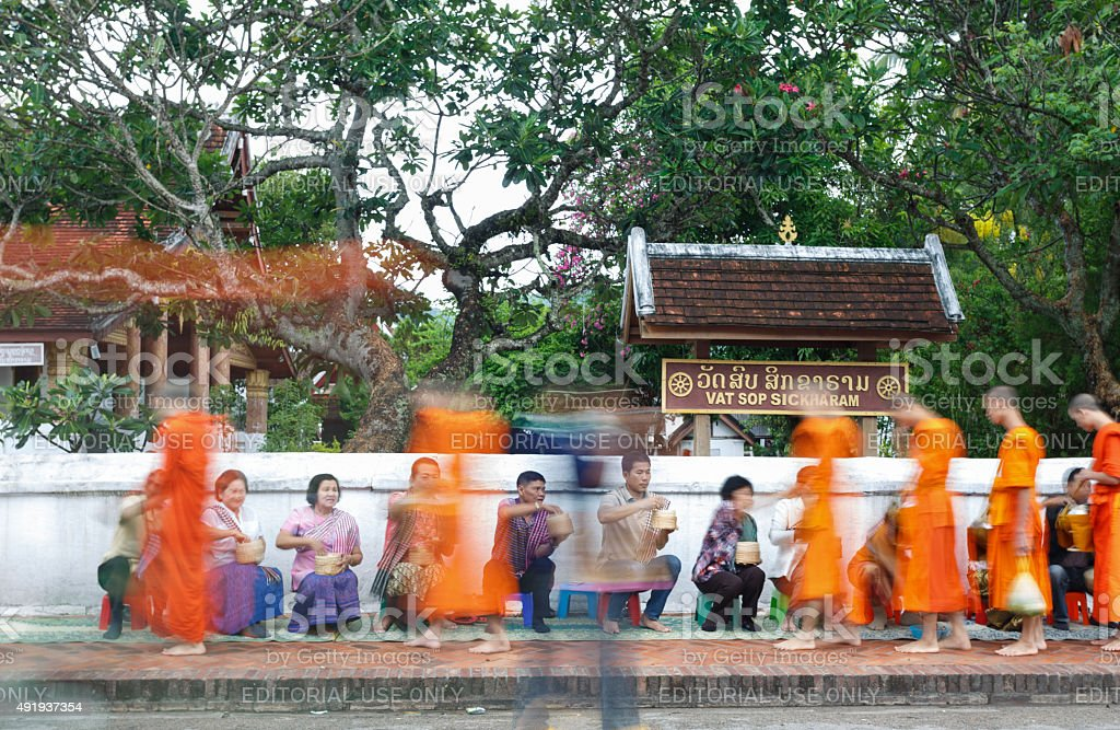 Editorial use only _Luang Prabang,May 9,2015_Alms Giving Ceremon stock photo