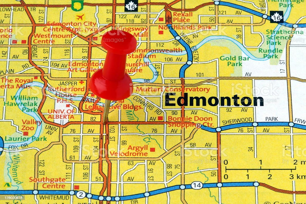 Edmonton Alberta Canada On A Map Stock Photo More Pictures Of