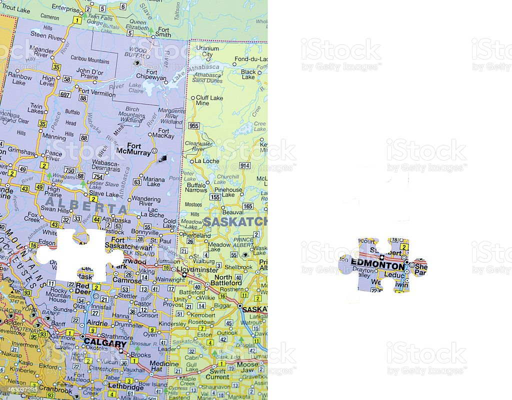 Edmonton, Alberta Map Jigsaw Puzzle Piece  stock photo