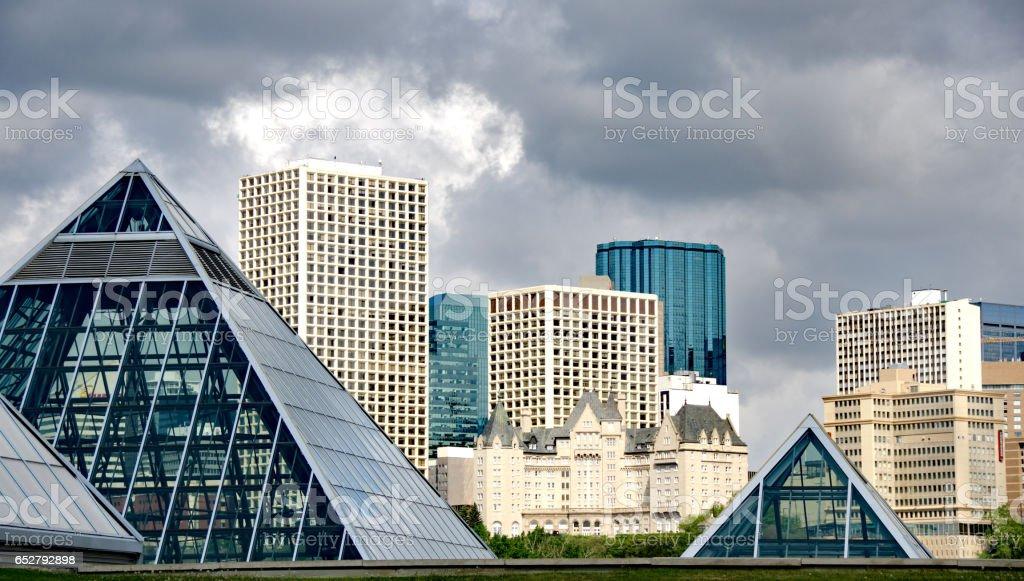 Edmonton, Alberta, skyline in spring looking north across  valley RF stock photo