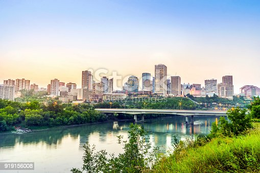 Edmonton downtown from riverbank after sunset, alberta, Canada