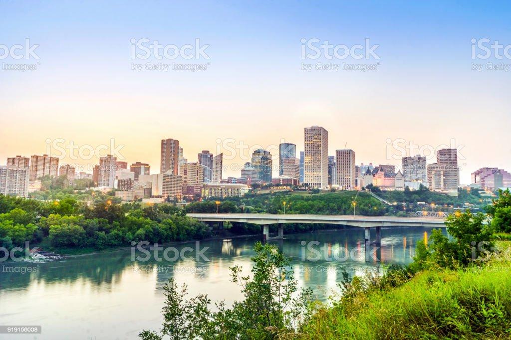 Edmonton downtown after sunset, alberta, Canada stock photo