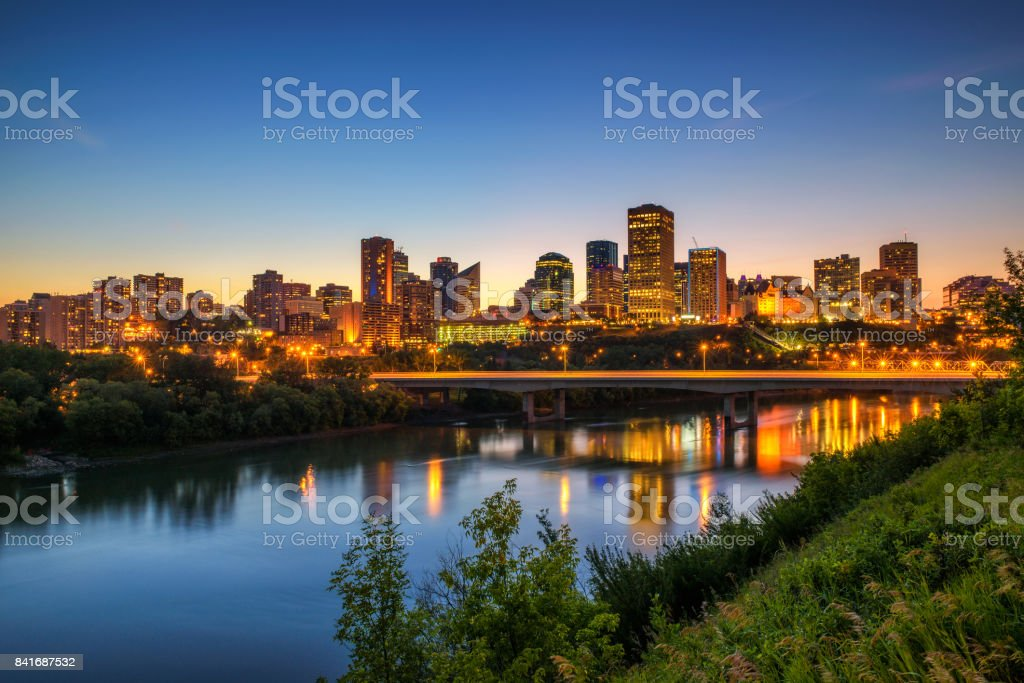 Edmonton downtown and the Saskatchewan River at night stock photo