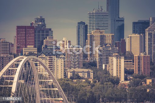 Edmonton downtown at sunset, in summer, Alberta, Canada