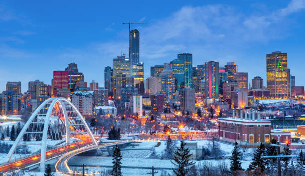 Edmonton Downtown Skyline Just After Sunset in the Winter stock photo