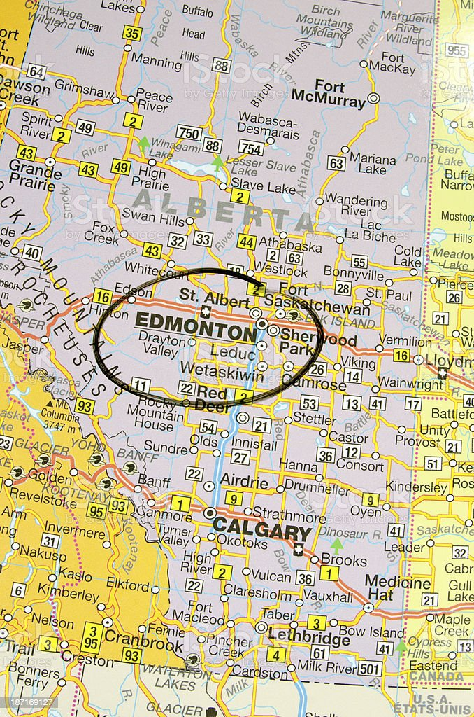 Edmonton on the Map stock photo