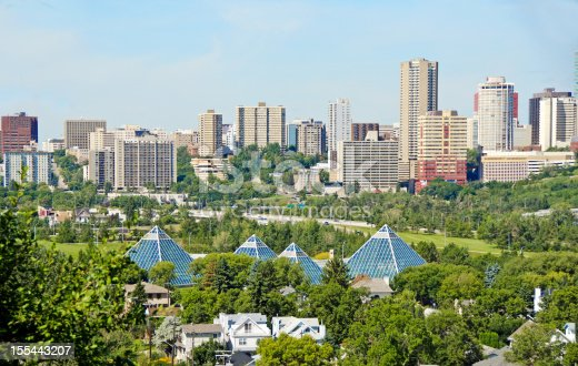 Edmonton Skyline and the greenhouse pyramids of the Muttart Conservatory.