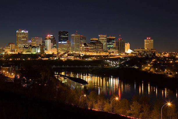 Edmonton Skyline at Night stock photo