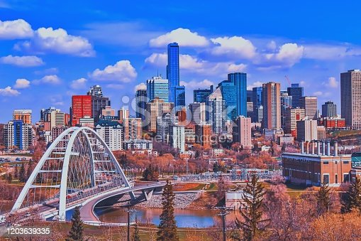 A vibrant and bright day over the city of Edmonton and the downtown skyline in the summer.