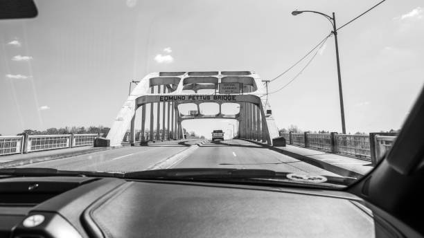 Edmund Pettus Bridge - Selma, Alabama Perspectives of the historical bridge crossed by leaders of the Civil Rights Movement in March of 1965. 20th century history stock pictures, royalty-free photos & images