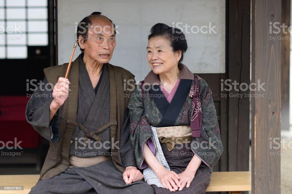 Edo period peasants stock photo