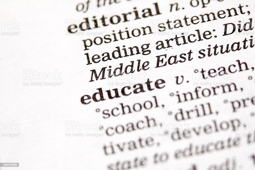 Educate written in thesaurus royalty-free stock photo