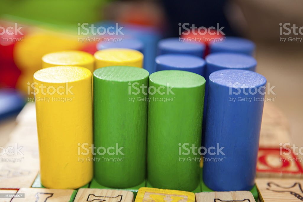Educating wooden toys stock photo