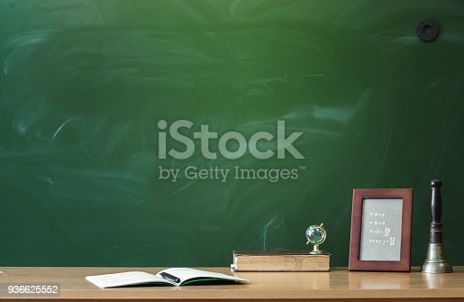 istock Education background with copy space. Student or teacher desk table on blackboard background. Classroom. Back to school. 936625552