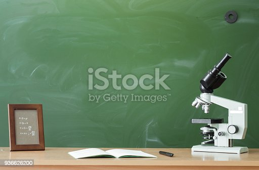 istock Education background with copy space. Student or teacher desk table on blackboard background. Classroom. Back to school. 936626200