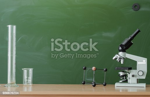 istock Education background with copy space. Student or teacher desk table on blackboard background. Classroom. Back to school. 936626204