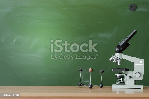 istock Education background with copy space. Student or teacher desk table on blackboard background. Classroom. Back to school. 936626248