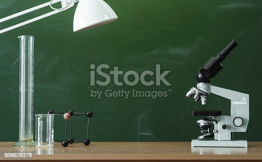 istock Education background with copy space. Student or teacher desk table on blackboard background. Classroom. Back to school. 936626378
