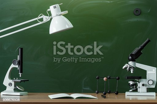874157676istockphoto Education background with copy space. Student or teacher desk table on blackboard background. Classroom. Back to school. 936626508