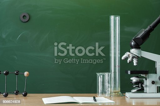 874157676 istock photo Education background with copy space. Student or teacher desk table. Biology or chemistry Classroom. 936624928
